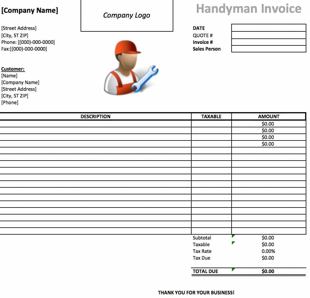 Free Handyman Invoice Template Excel PDF Word Doc - Parts and labor invoice template free