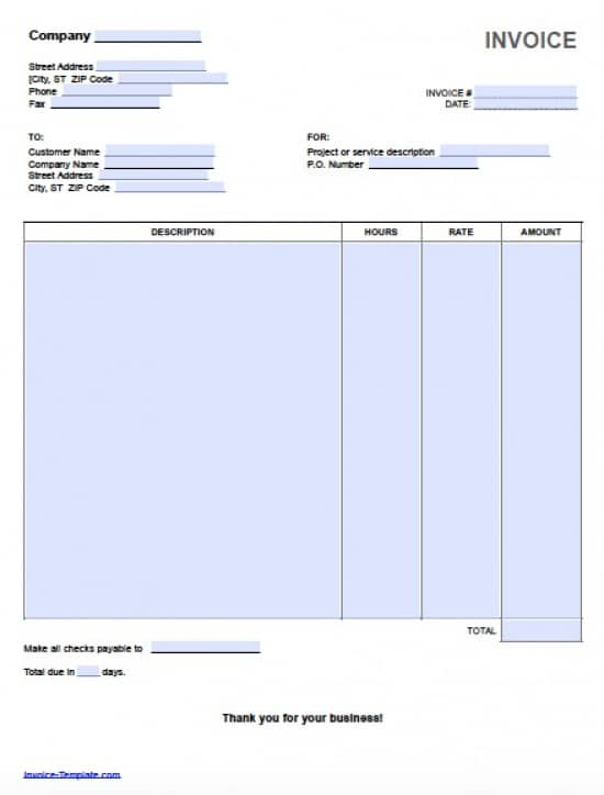 Free Hourly Invoice Template Excel PDF – Ms Word Receipt Template