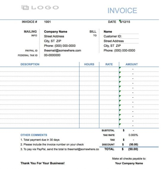 contractor hourly invoice template  Free Hourly Invoice Template | Excel | PDF | Word (.doc)