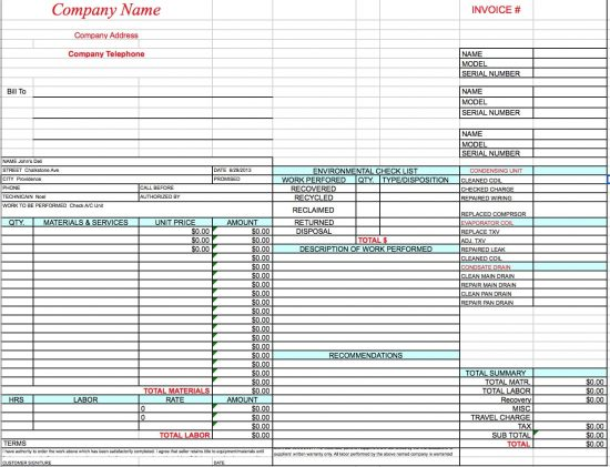 Free HVAC Invoice Template Excel PDF Word Doc - Invoice for work performed