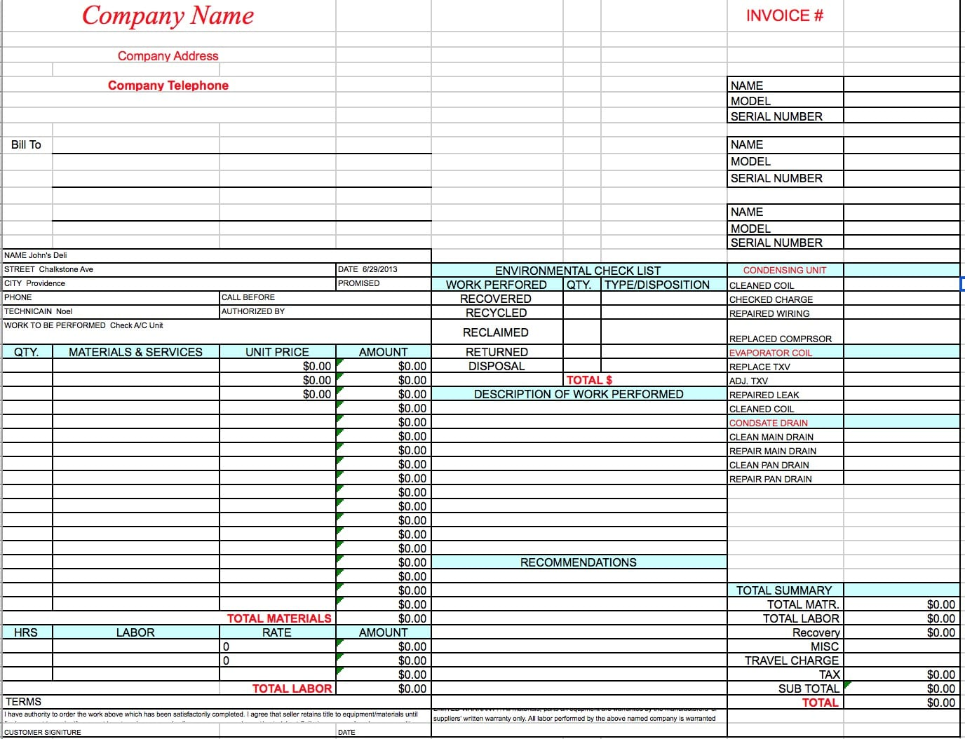 hvac service invoice template  Free HVAC Invoice Template | Excel | PDF | Word (.doc)
