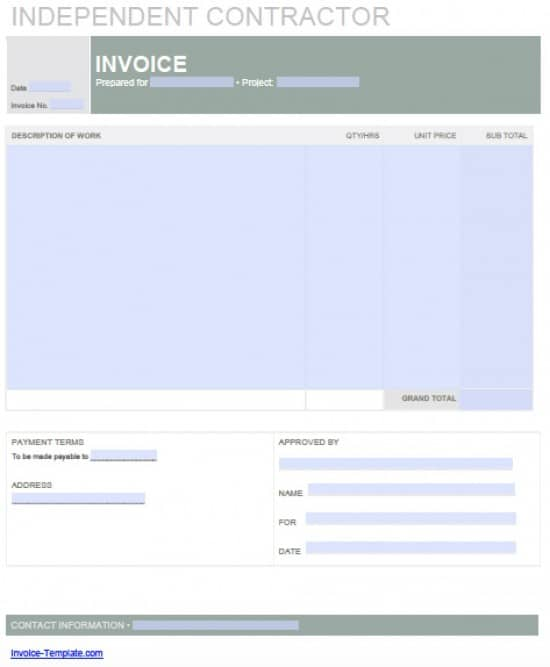 Adobe PDF (.pdf) And Microsoft Word (.doc)  Subcontractor Invoice Template