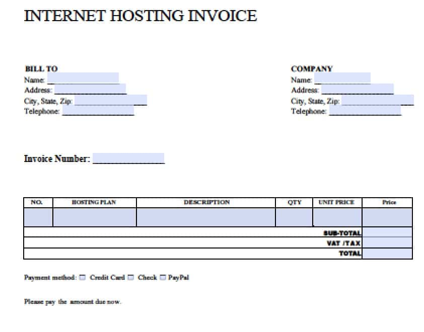 Internet Hosting  Copy Of A Blank Invoice