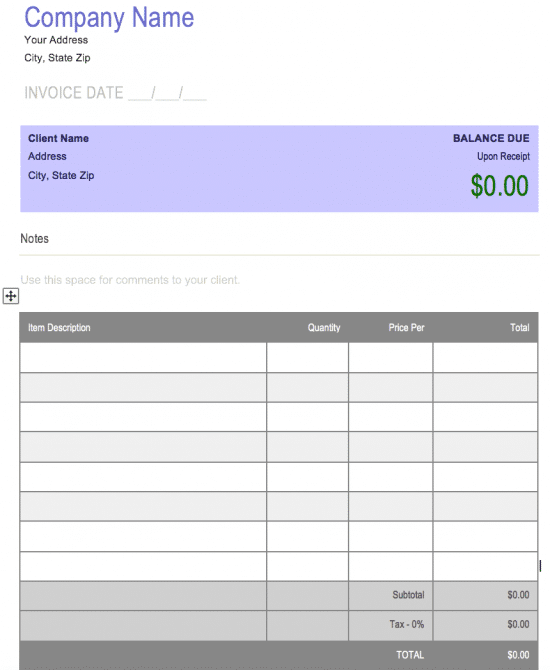 copy of blank invoice