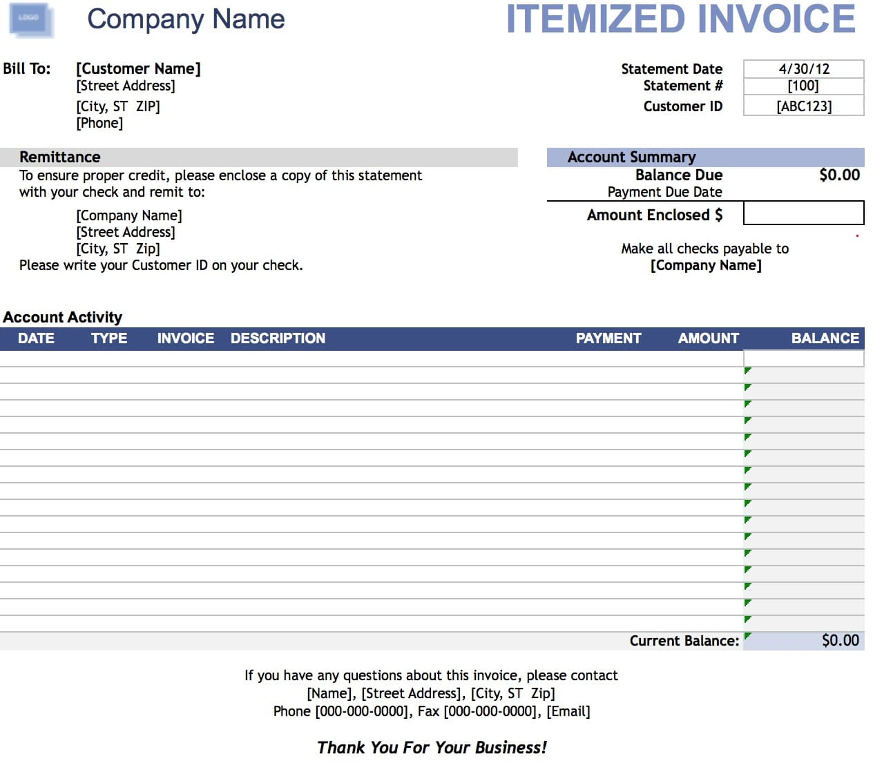 Free Itemized Invoice Template Excel PDF Word Doc - Microsoft excel invoice template free download for service business