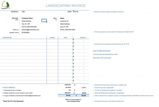 landscaping receipt template koni polycode co