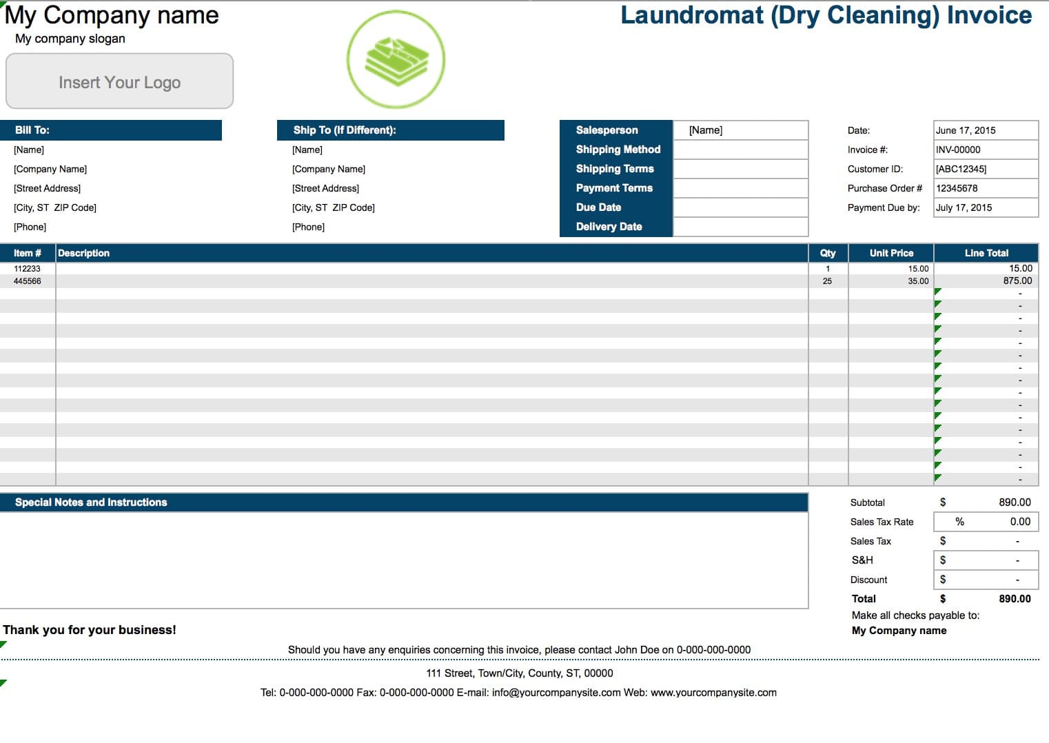 Free Laundromat (Dry Cleaning) Invoice Template | Excel | PDF | Word (.doc)  Bill Book Template