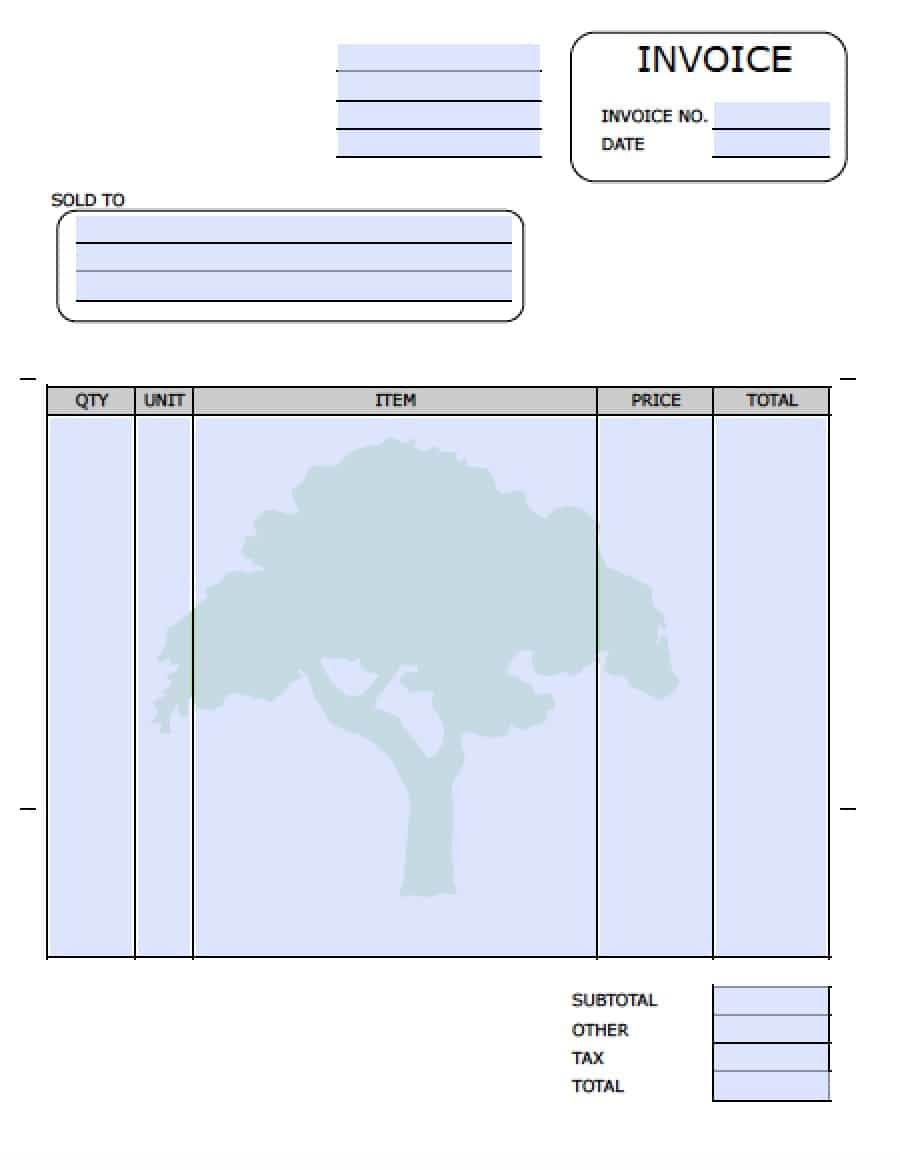 Free Landscaping Lawn Care Service Invoice Template Excel PDF - Blank invoice template free download for service business