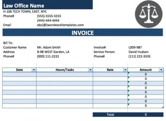 Microsoft Excel (.xls) For Legal Invoice Template
