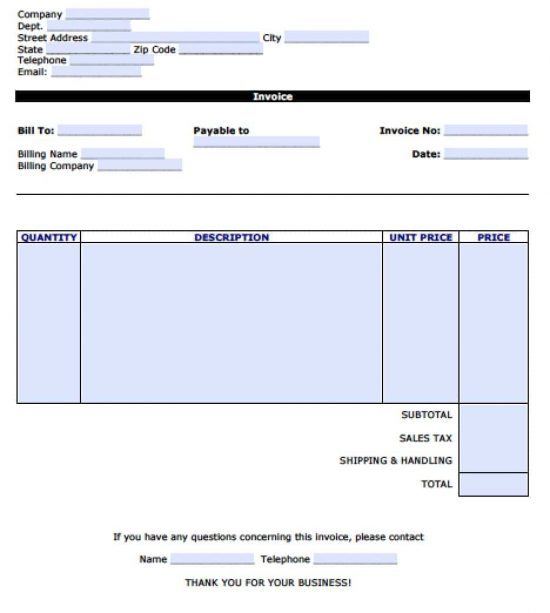 Free Personal Invoice Template Excel PDF Word Doc - Company invoice template excel for service business