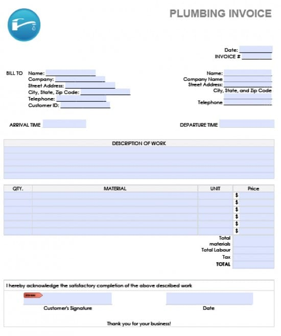 Free Plumbing Invoice Template Excel PDF Word Doc - Microsoft word templates invoice for service business