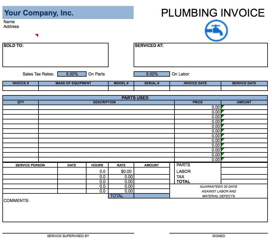 Free Plumbing Invoice Template Excel PDF Word Doc - Sample billing invoice excel for service business