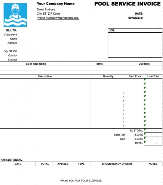 Free Pool Service Invoice Template Excel PDF Word Doc - Pool service invoice template