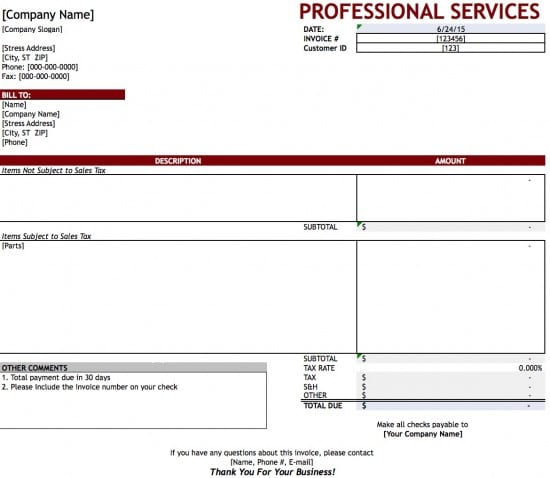 Free Professional Services Invoice Template Excel PDF Word Doc - Excel service invoice template for service business