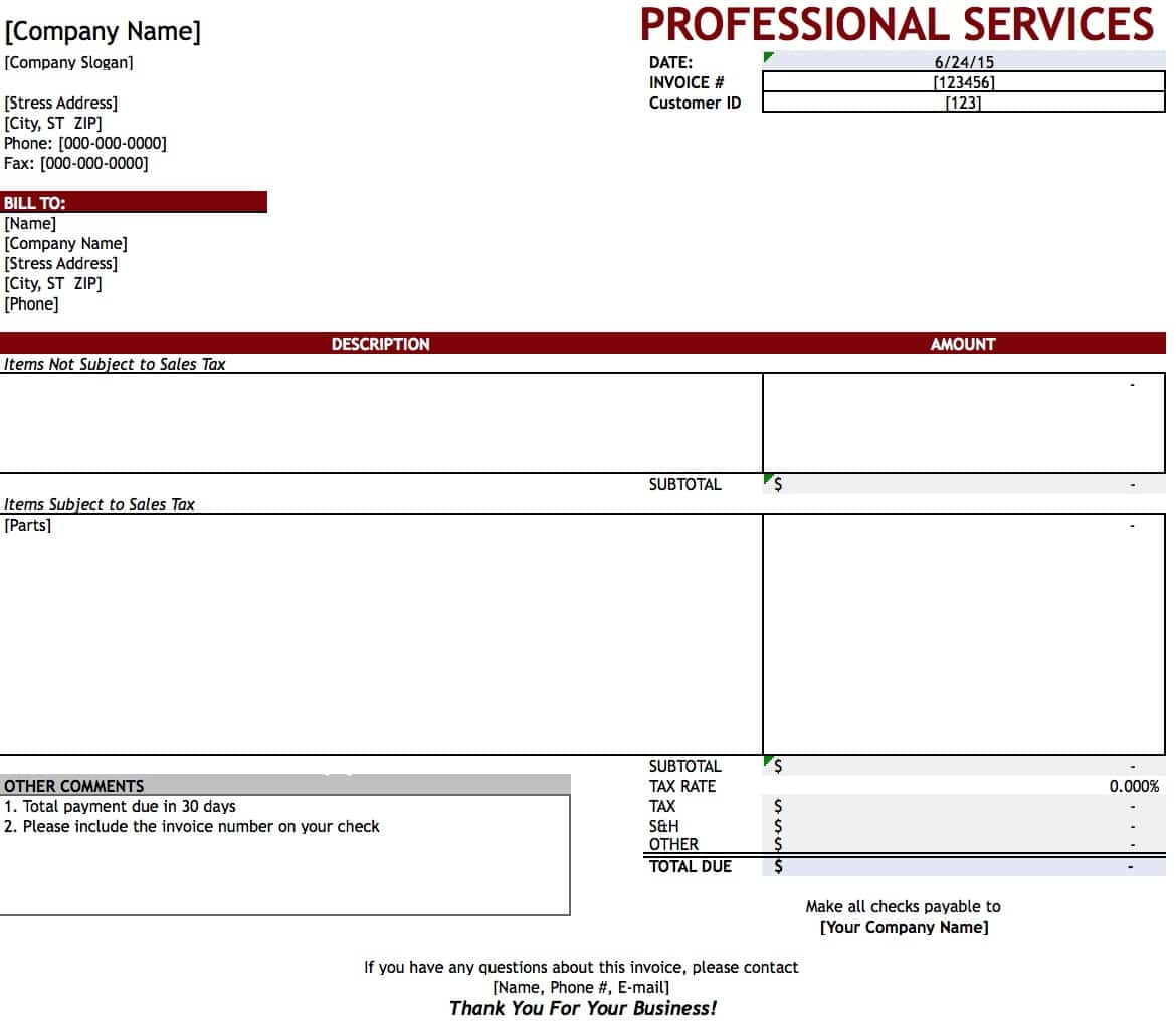 Free Professional Services Invoice Template Excel PDF – Receipt for Services Template