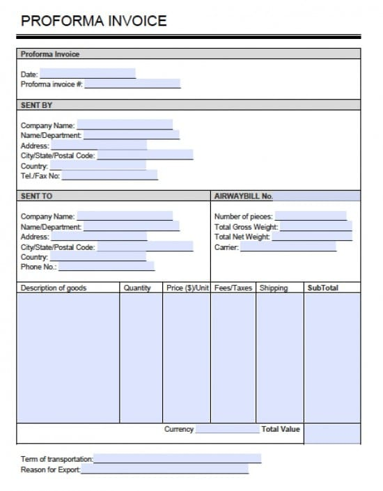 business proforma template