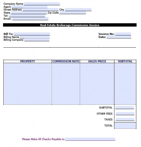 Free Real Estate Brokerage Commission Invoice Template Excel PDF - Real estate invoice template free
