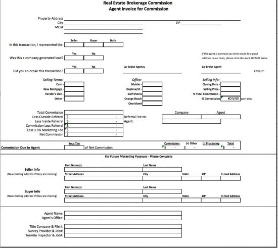Free Real Estate Brokerage Commission Invoice Template Excel - Commission invoice template