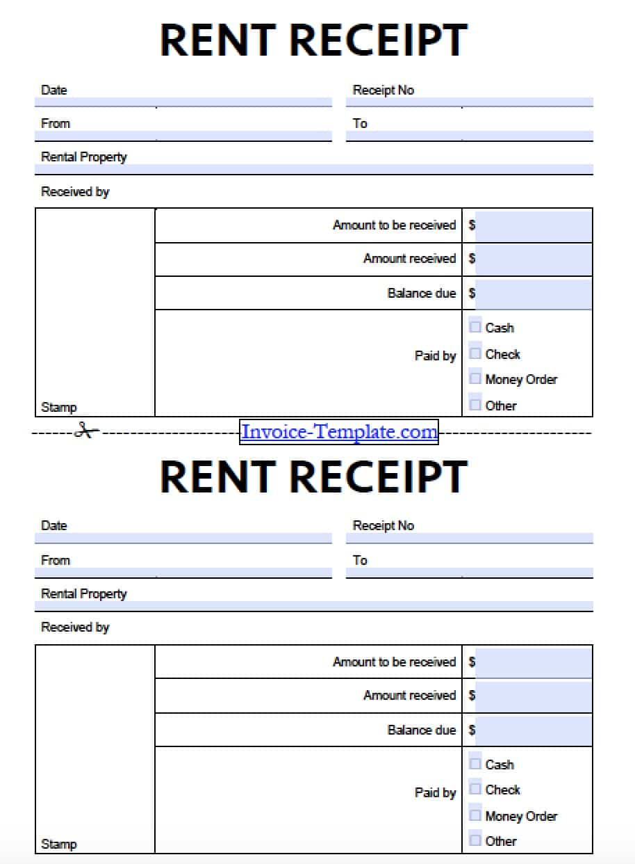 Wonderful Free Monthly Rent (to Landlord) Receipt Template | Excel | PDF | Word (.doc) With Rent Invoice Form