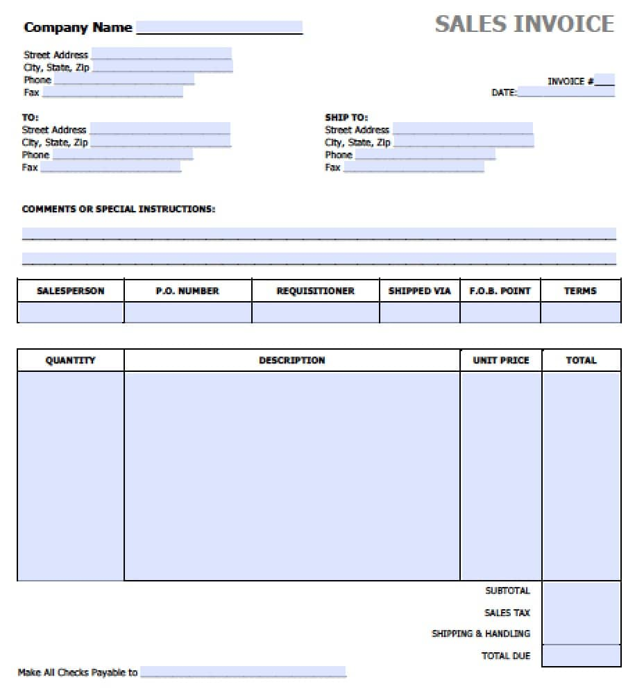 Superb Free Blank Invoice Templates In PDF, Word, U0026 Excel Idea Invoice Sale