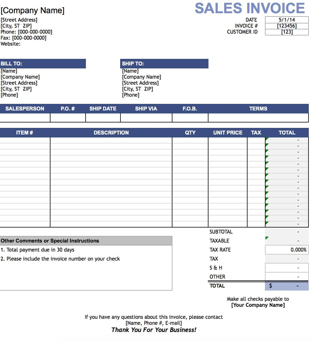 Free Sales Invoice Template Excel PDF – Ms Word for Sale