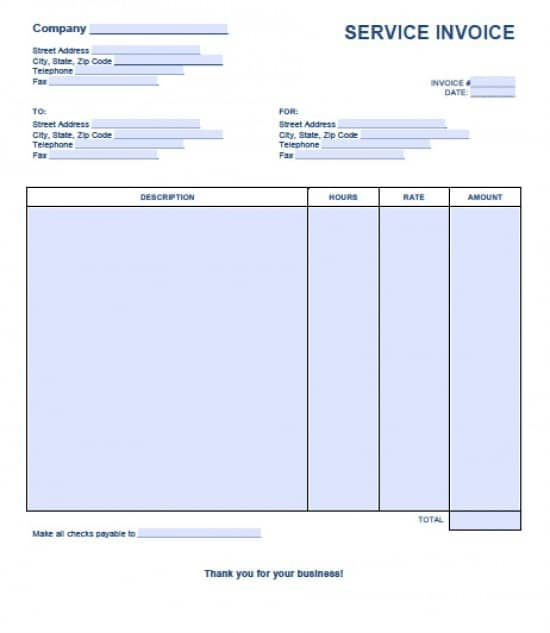 Free Service Invoice Template Excel PDF Word Doc - Free invoices to print for service business