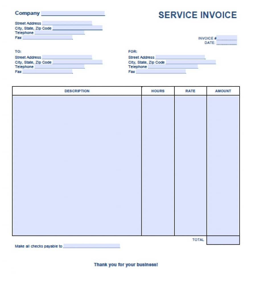 Free Service Invoice Template Excel PDF Word Doc - Simple invoice word