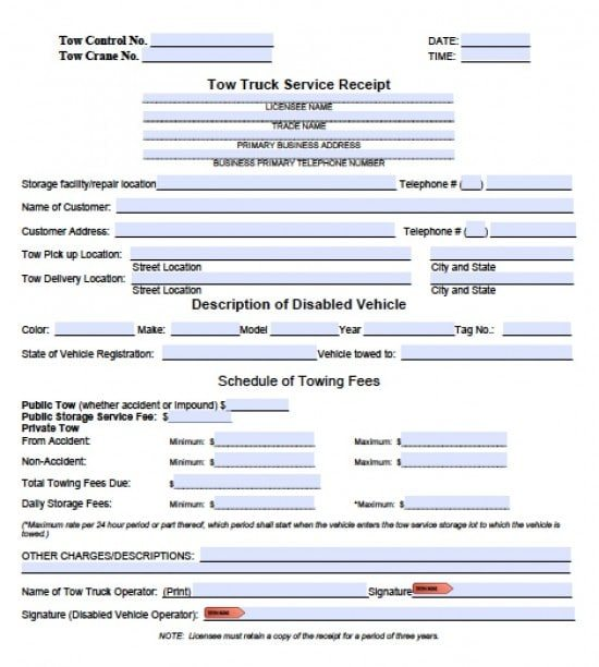 towing invoice template  Free Tow Service Invoice Template | Excel | PDF | Word (.doc)