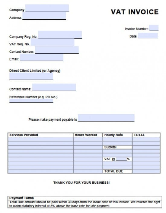 Free Value Added Tax VAT Invoice Template Excel PDF Word Doc - Free invoice template : create an invoice in word