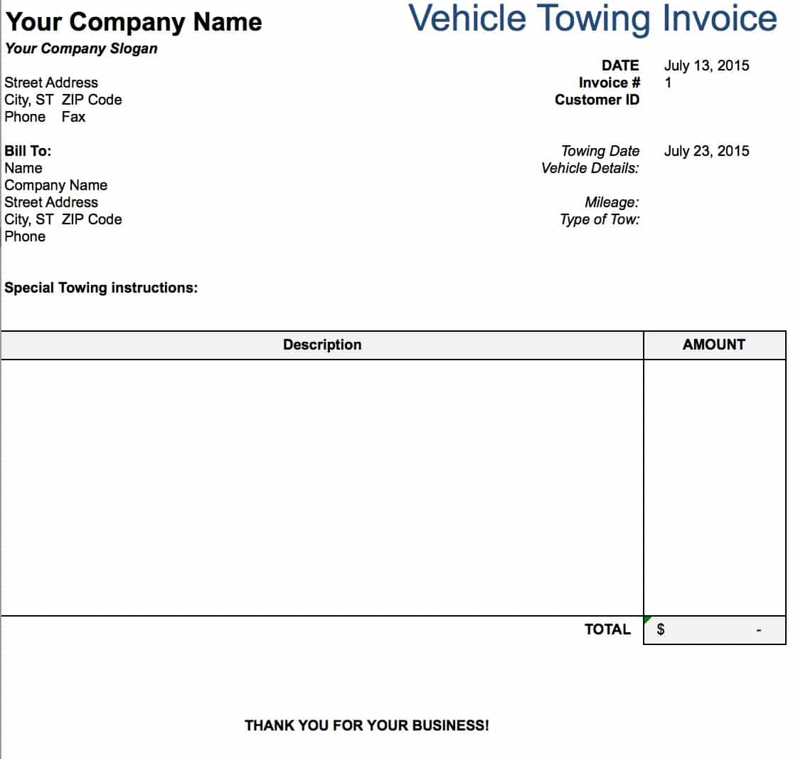 Free Tow Service Invoice Template Excel PDF – Free Printable Receipts for Services
